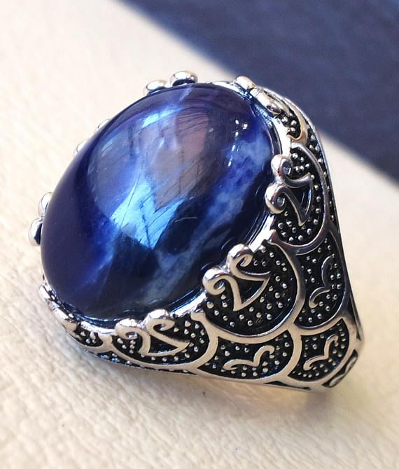 8bedcadff2fd6 Sodalite natural stone dark royal blue men ring sterling silver 925 ...