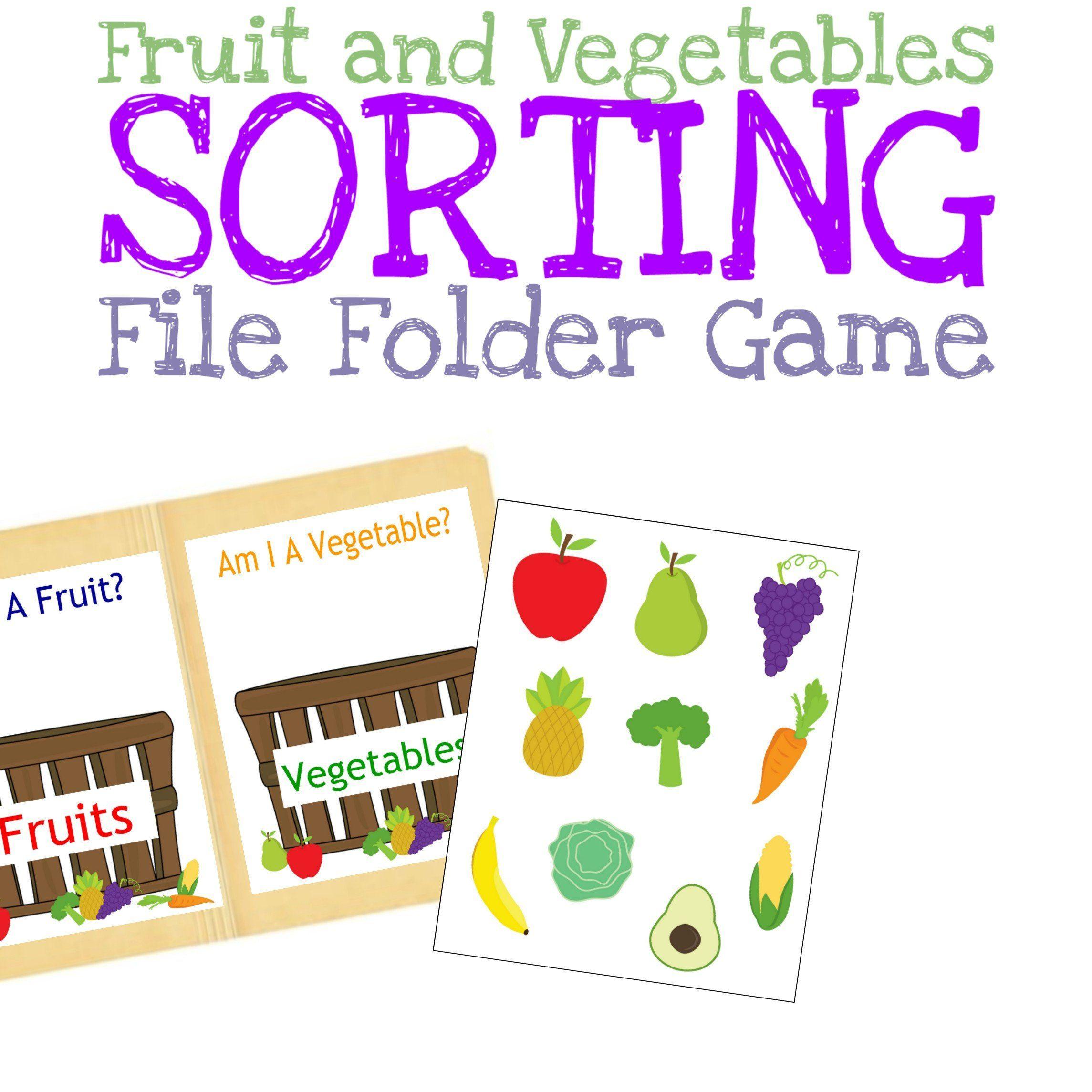 Sorting Fruits And Vegetables File Folder Game Preschool