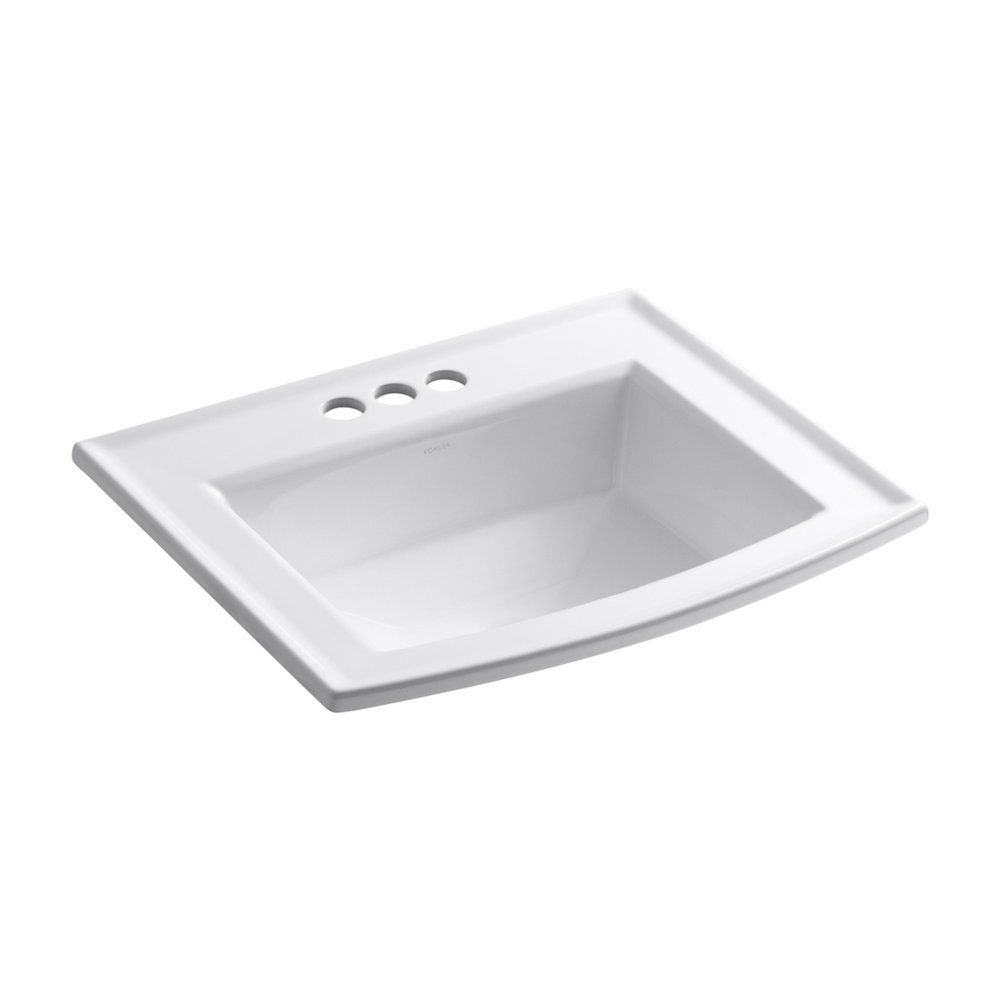Bathroom Sinks Lowes Canada shop kohler k2356-4-0 archer white drop-in rectangular bathroom