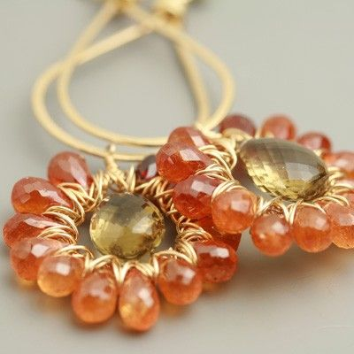 Mandarin Garnet and Quartz Sunburst Earrings by fussjewelry