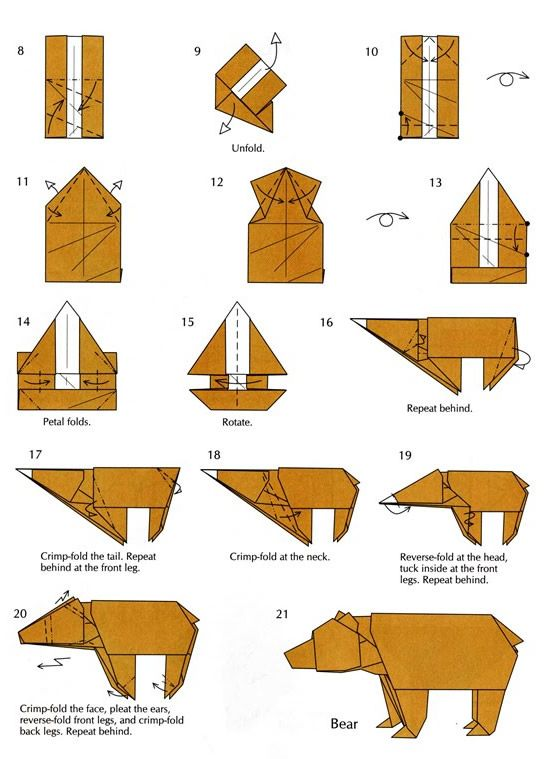 bear easy origami instructions part 2 origami pinterest rh pinterest com Origami Dragon Diagram Origami Star Diagram