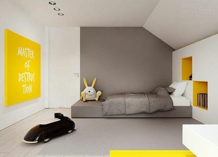 Idea per i colori pareti cameretta abbinamento grigio scuro e
