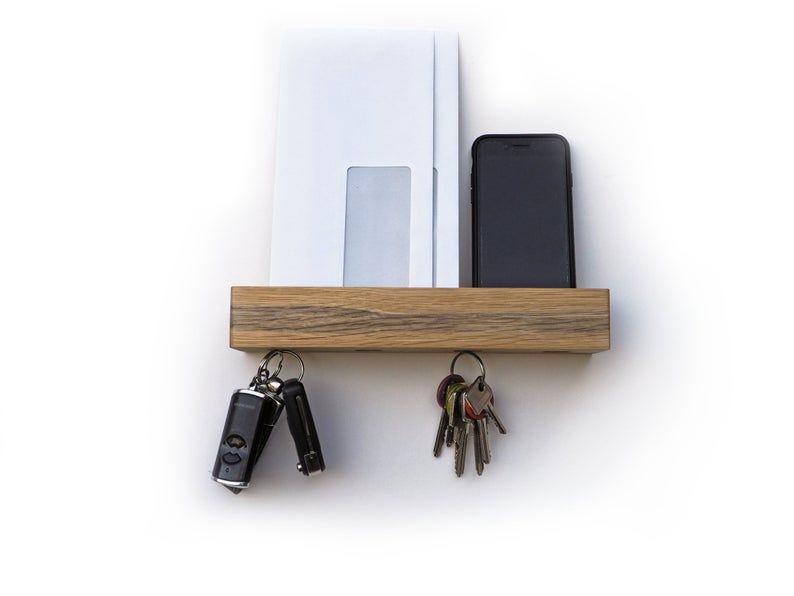 Schlüsselbrett Massivholz Schlüsselhaken Schlüsselleiste Schlüsselhalter Eiche