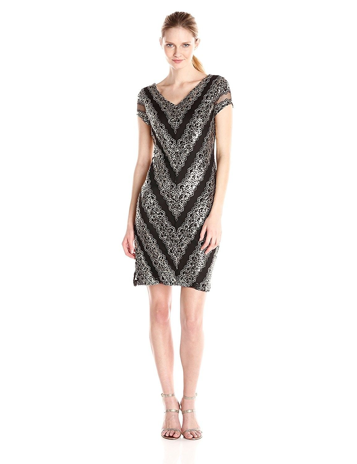 Womenus short lace with cap sleeve and v neck front and back black