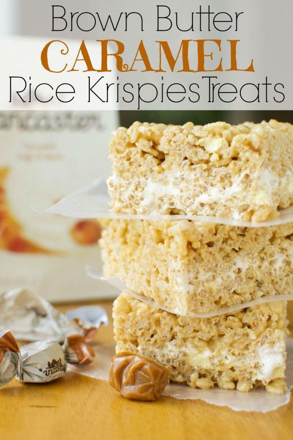 Brown Butter Caramel Rice Krispies Treats #ricekrispiestreats
