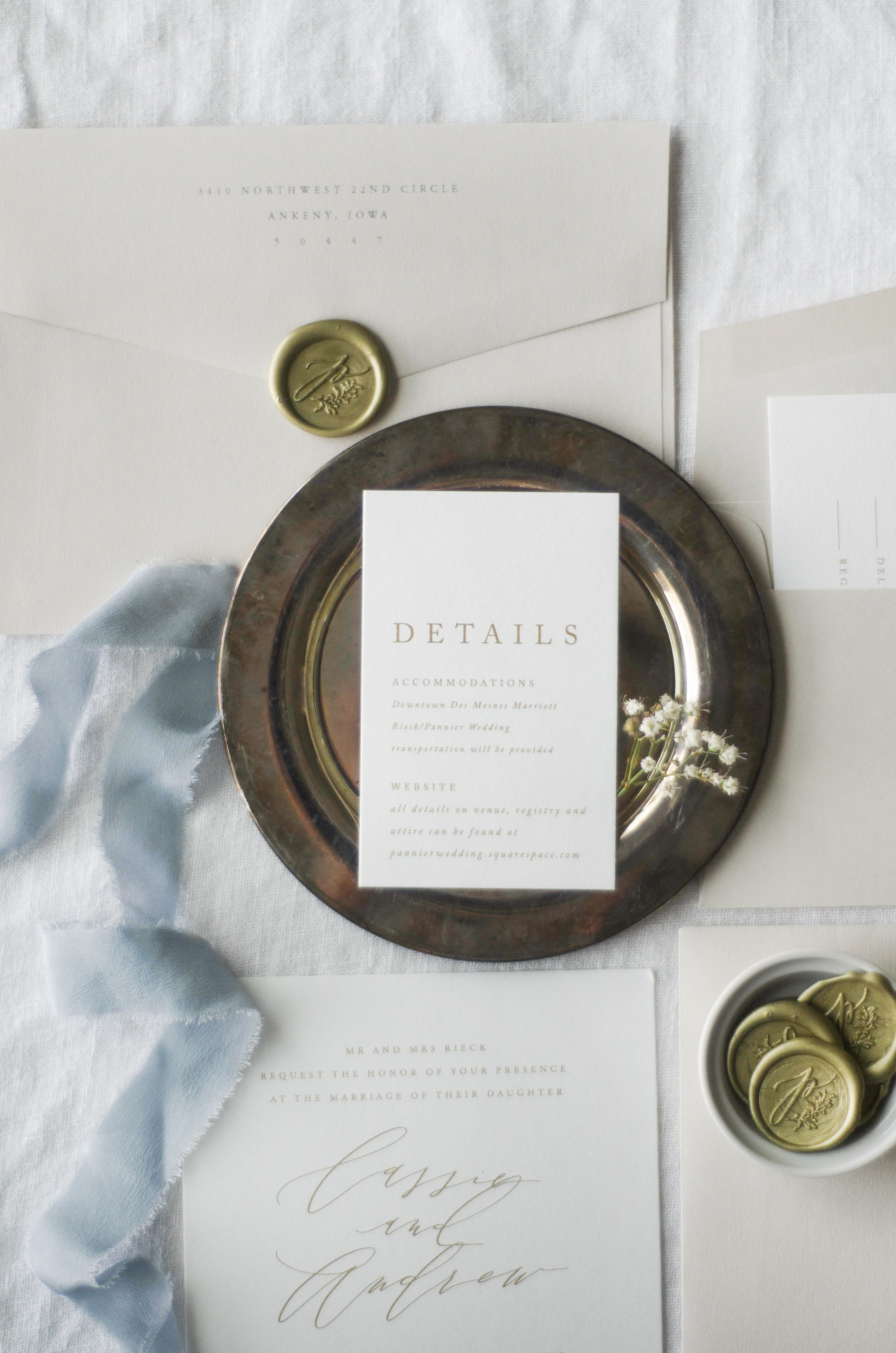 nice wedding invitation font%0A This modern twist on a classic wedding invitation suite with dusty French  blue and gold touches  Adorned with wistful modern calligraphy