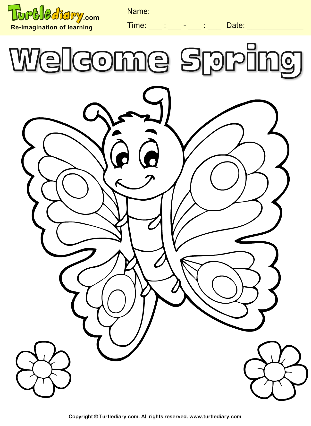 Welcome Spring Butterfly Coloring Page Kids Crafts