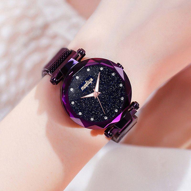 Luxury Diamond Rose Gold Women Watches Fashion Ladies Starry Sky Magnetic Watch Casual Mesh Steel Rhinestone Female Wristwatch Discount 28 Elmas Saatler Luks