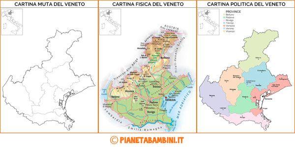 Cartina Muta Fisica E Politica Del Veneto Da Stampare Didattica