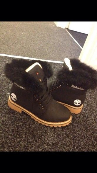 shoes dark brown timberlands with fur
