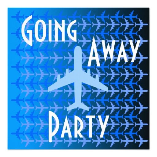 going away party invitation card plane blue going away parties