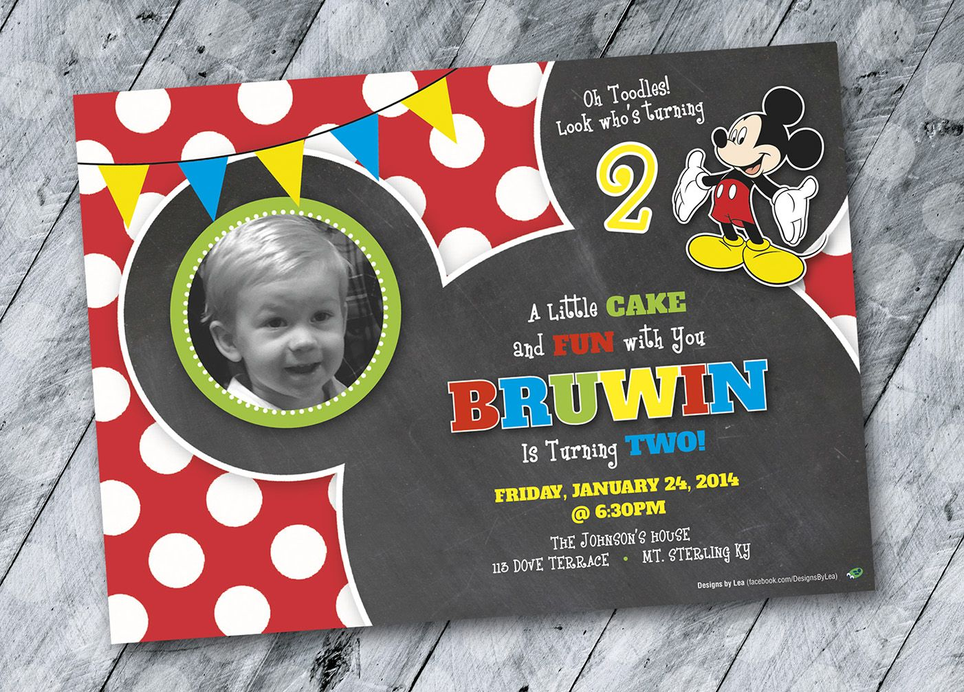 Mickey Mouse Birthday Invitation Design 2 year old boy – 2 Year Old Birthday Invites
