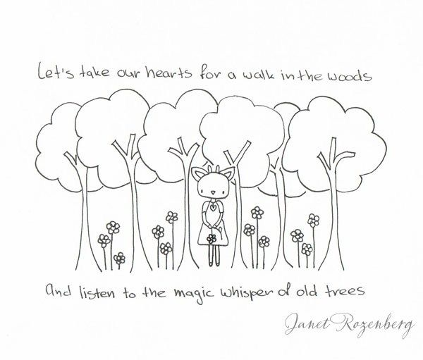 Whispers of old trees - pen drawing painting Shadownheartchallenge day 13