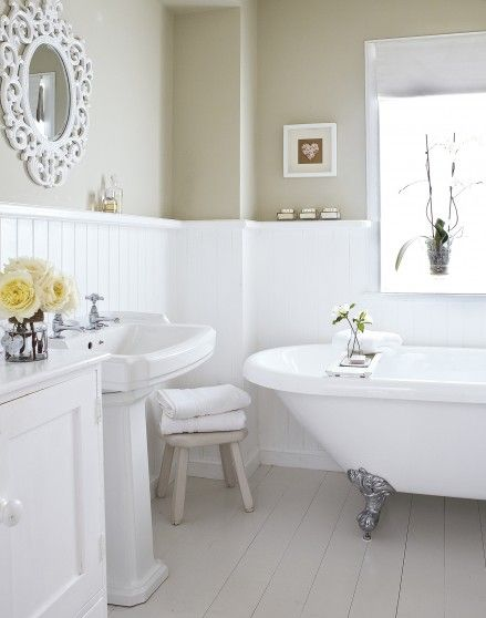 Neutral Country Bathroom With Roll Top Bath Country Bathroom