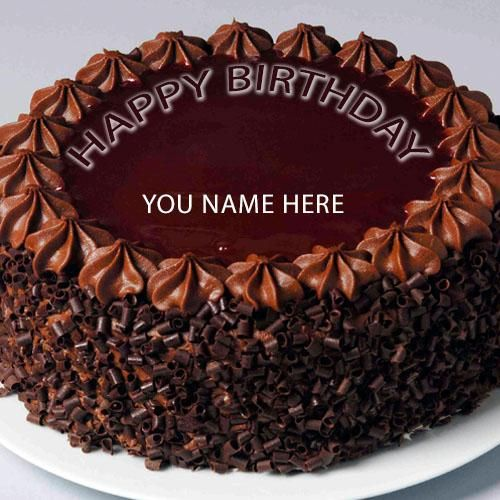Write Name On Happy Birthday Cake Greeting Card Chocolate