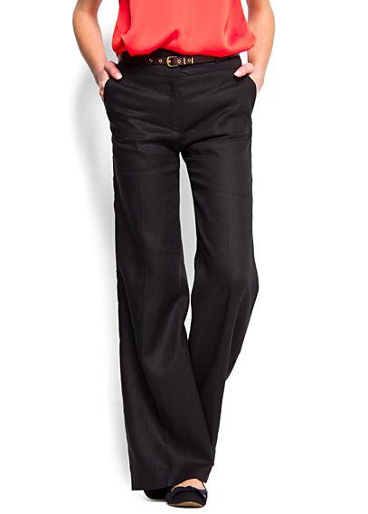 575812636f Pantalón ancho de lino  Mango