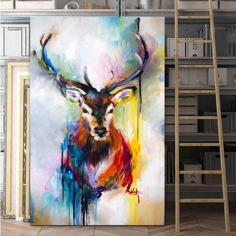 Modern Creative Colorful Red Blue Deer Pictures Printed Canvas Painting Decorative Prints Animal Paintings Living R Art Painting Oil Deer Painting Art Painting