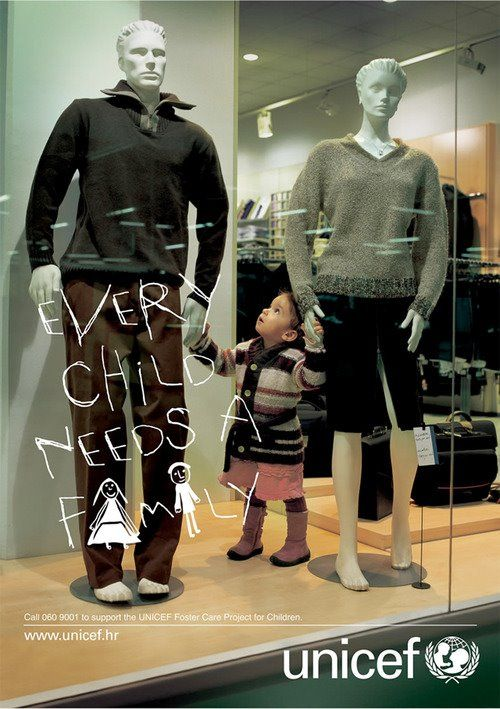 Every Child Needs A Family I Unicef Guerilla Marketing Advertising Design Creative Advertising