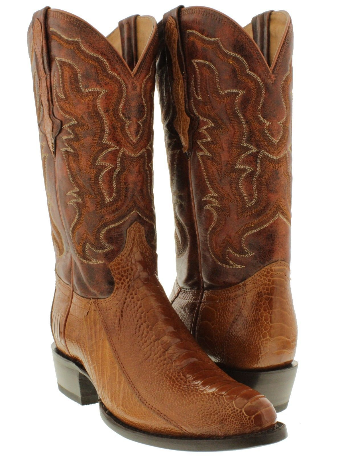 Ladies Snip Toe Genuine Leather Ostrich Leg Western Boots