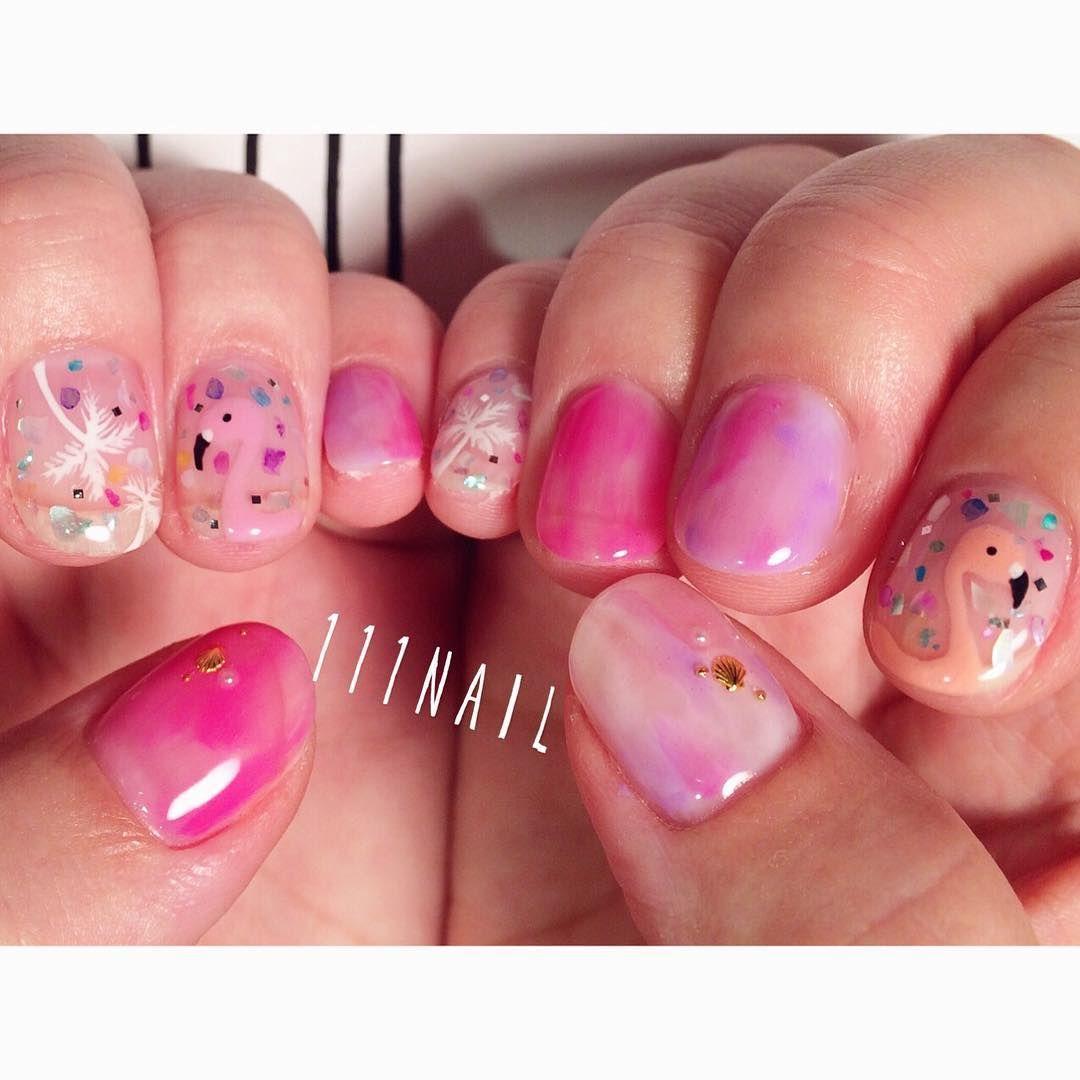 ☀ #nail#art#nailart#ネイル#ネイルアート #summer#pink#flamingo ...