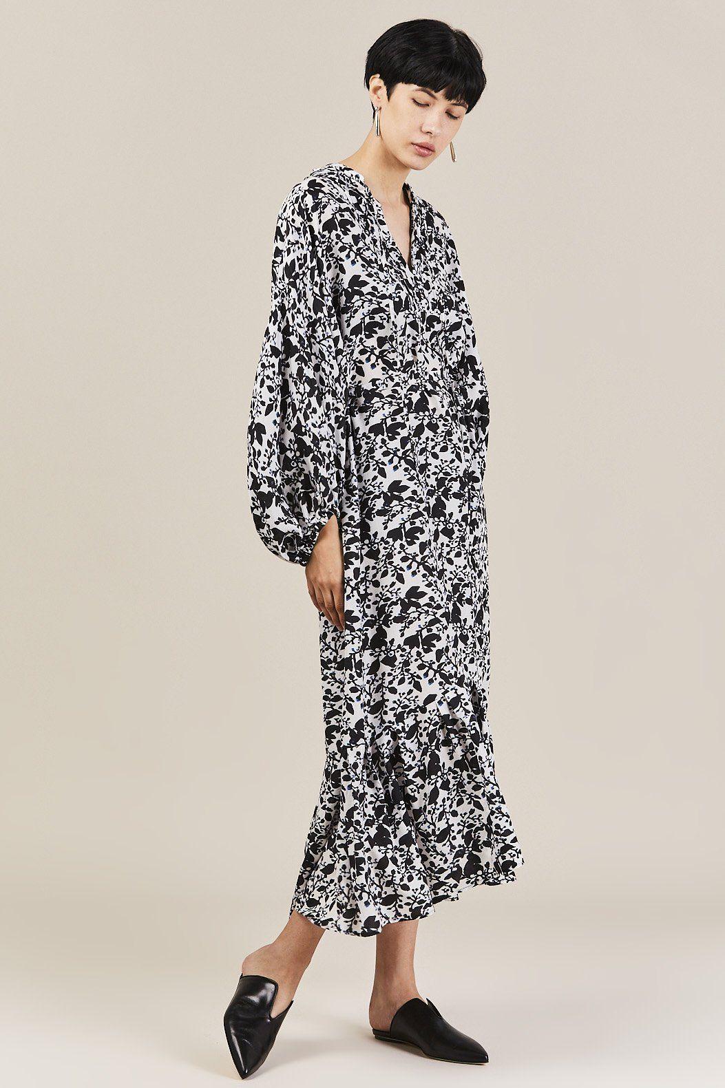 Christian Wijnants Darba Black White Silk Flower Dress