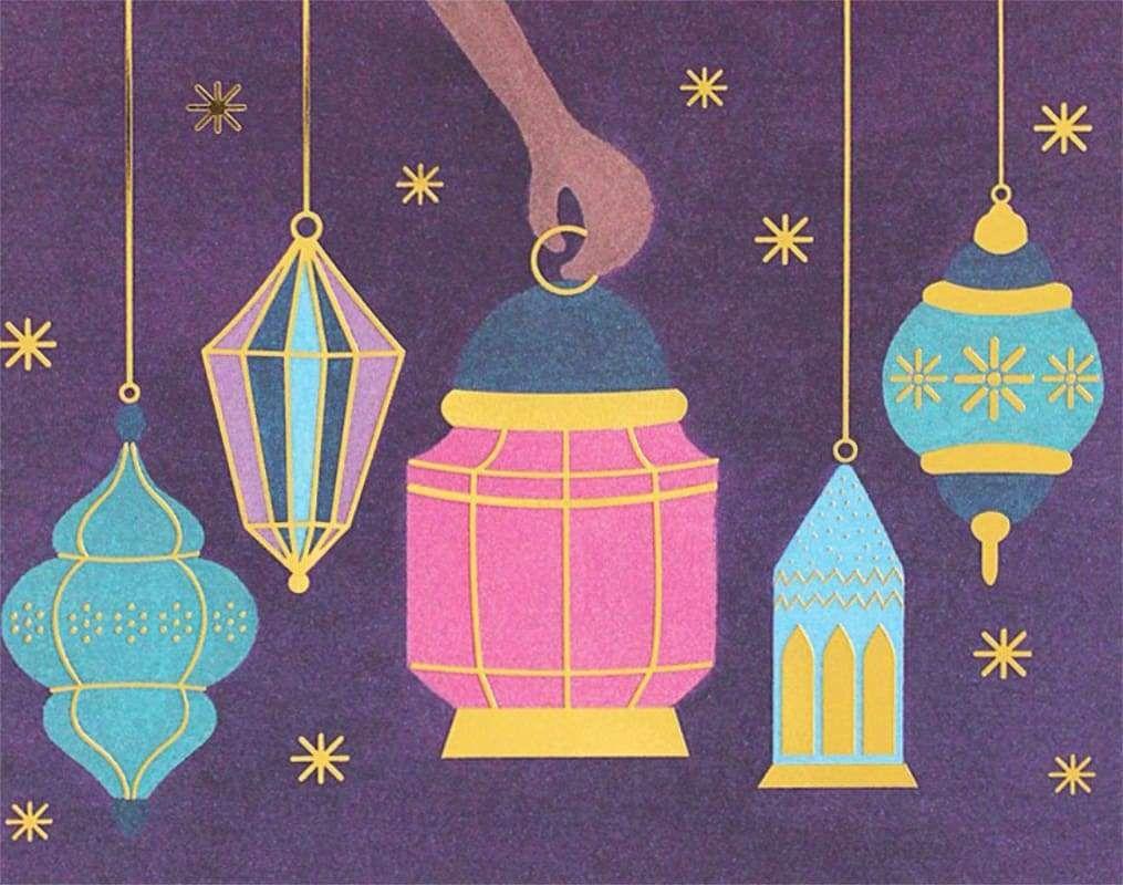 5 lanterns in 2020 hand illustration foil stamping