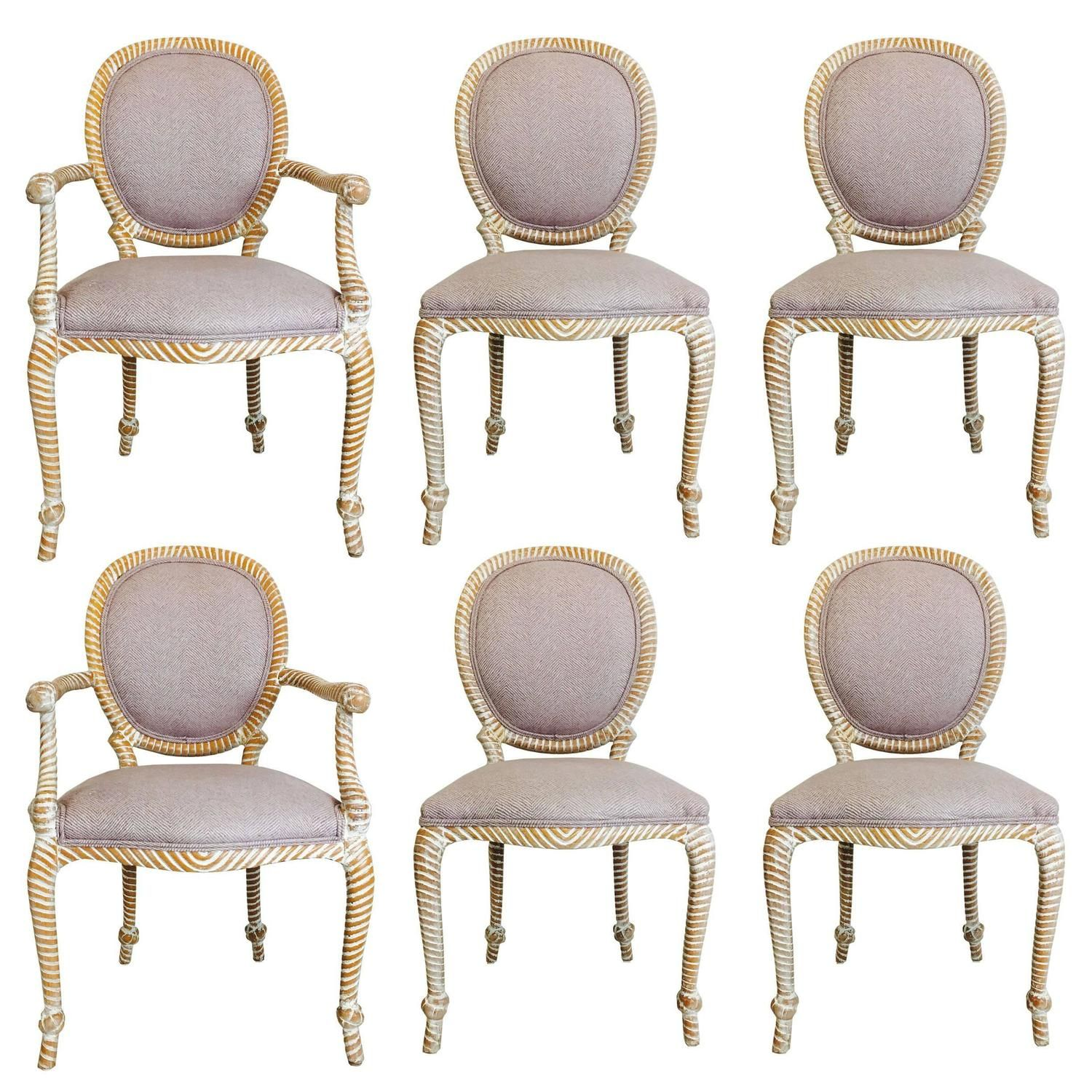 8eb00540e250d Set of Six Carved Rope Dining Chairs with White Washed Finish ...
