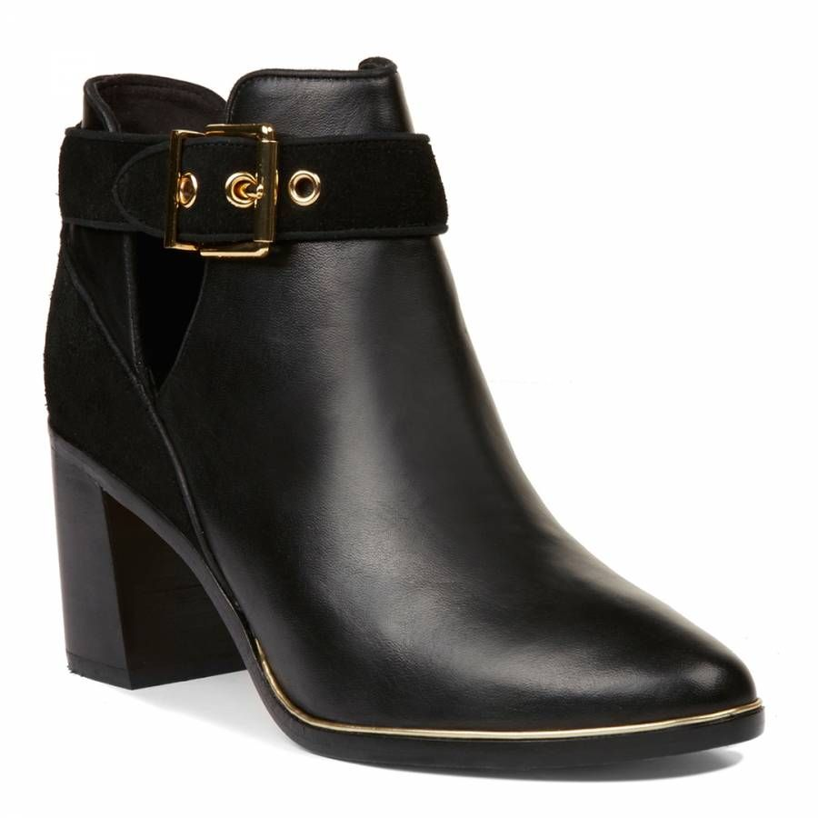 6be14afbb4ef Black Leather Nissie Cut Out Ankle Boots - BrandAlley