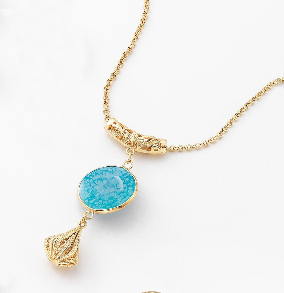 6bc4e9685649 NICE regalos hermosos - Collar piedra de cristal. Joyeria con 4 baños en oro  de 18 kilates.