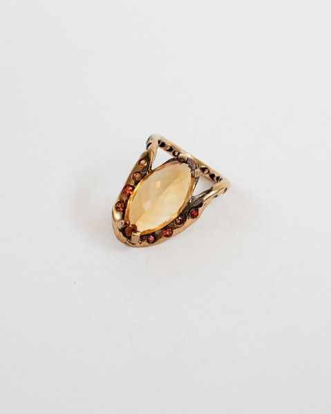 pavo ring - sterling silver cast with imperial citrine cut stone and yellow, pink, and orange sapphire cut stones