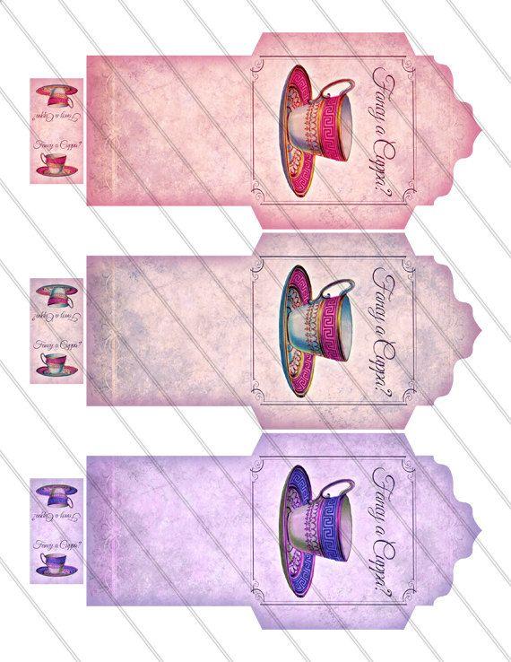 Printable Fancy a Cuppa Tea Bag Holder envelope tag instant download digital collage sheet VD0105