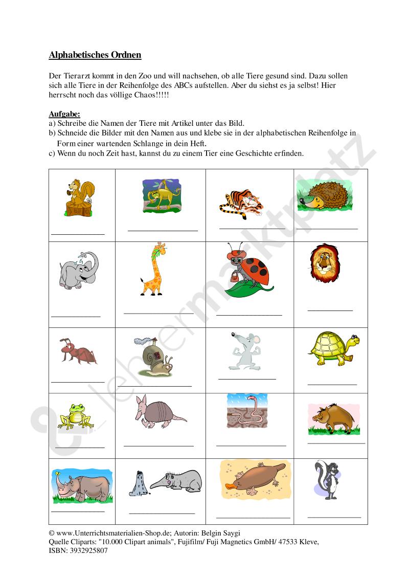 Arbeitsblatt: Alphabetisches Ordnen von Tieren (mit Lösungen ...