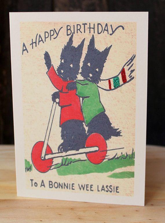 Reserve For Dee Scottish Terrier Birthday Cards Etsy Vintage Birthday Cards Birthday Cards Vintage Birthday