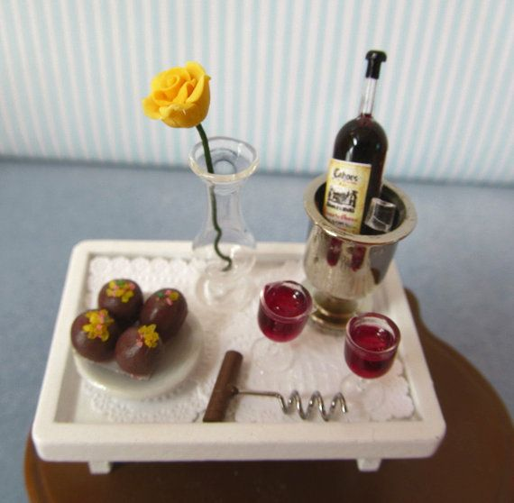 Romantic Tray Wine In ice bucket, 2 filled glasses, Rose  Truffles