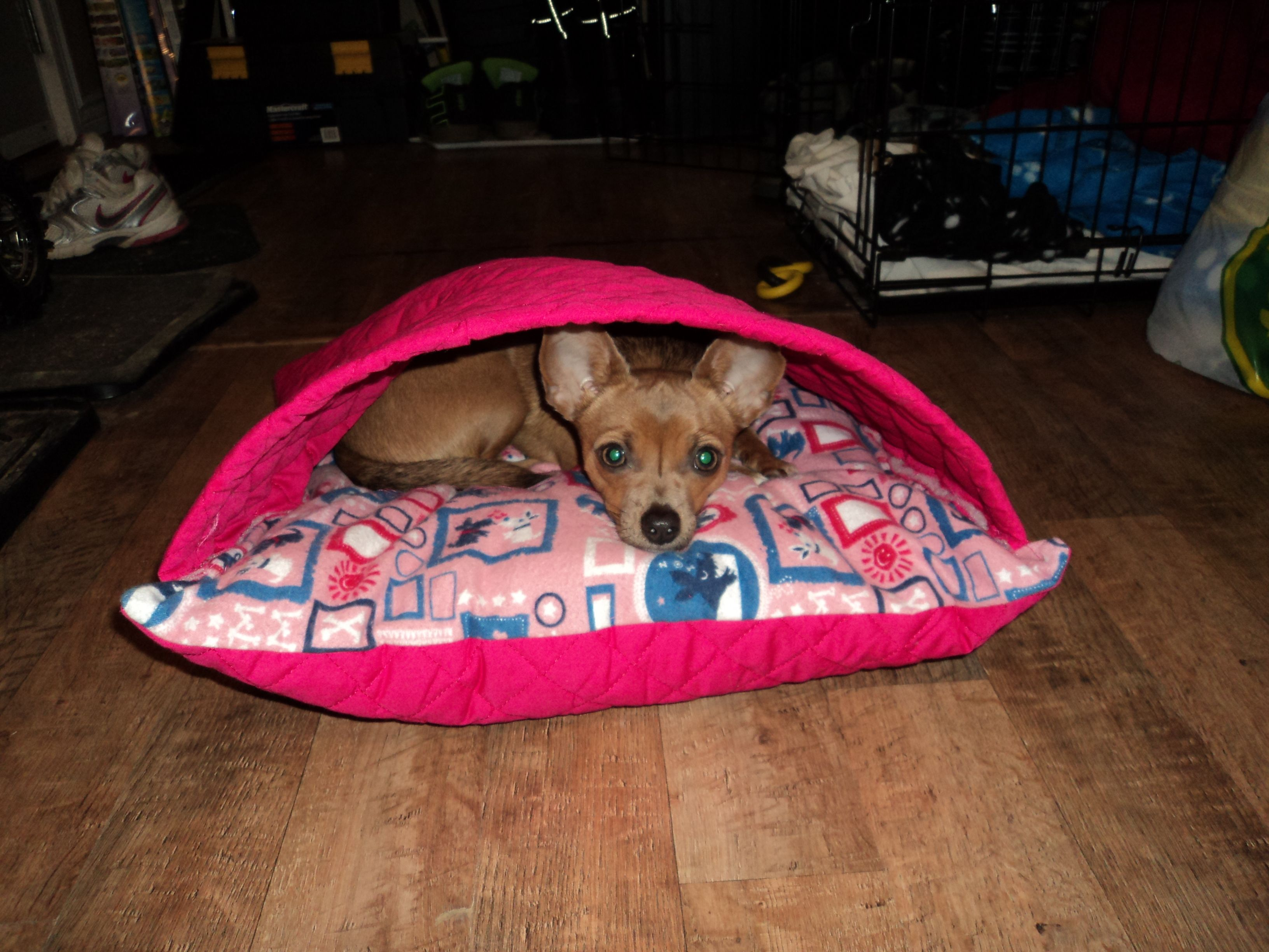 diy idea dog cave bed snuggle bed For the furry family