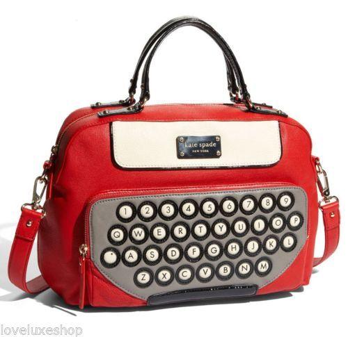 Kate Spade Typed Up Clyde Vintage Typewriter Leather Satchel Bag Purse Crossbody Ebay