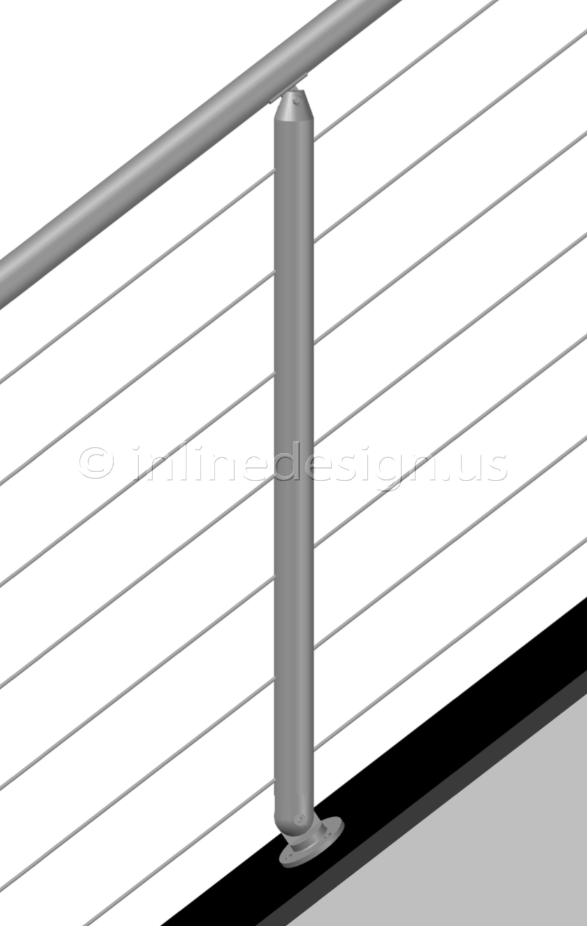Stainless Steel Railing Systems Round Angle Mount Stair Middle Post ...
