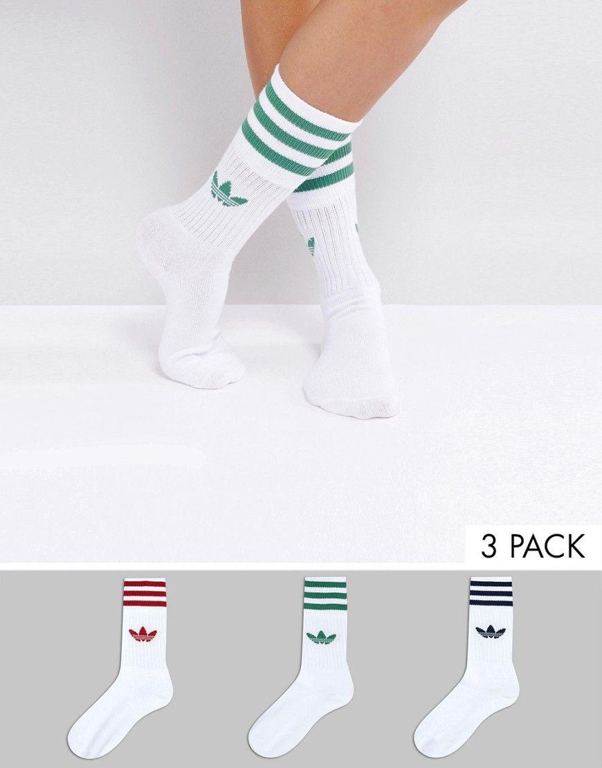 7ba76b29c855e adidas Originals 3 Pack Red And Green Crew Socks | Random | Adidas ...