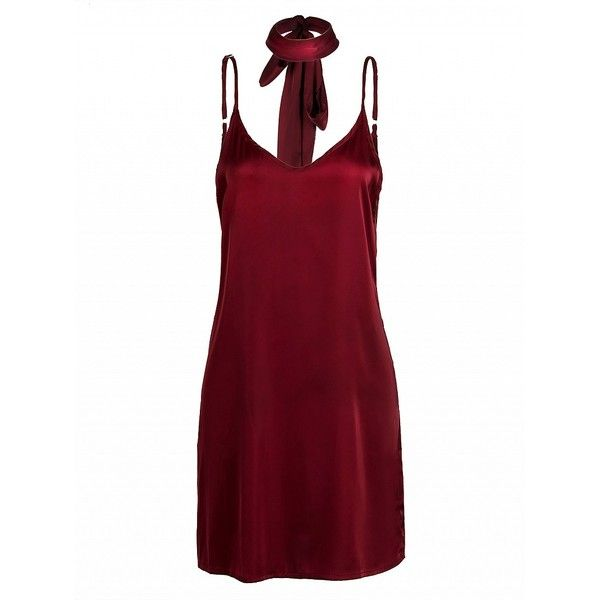 Choies Red Plunge Choker Tie Satin Cami Strap Slip Dress (€13) ❤ liked on Polyvore featuring dresses, red, tie dress, white cocktail dresses, red white dress, red plunge dress and white dress