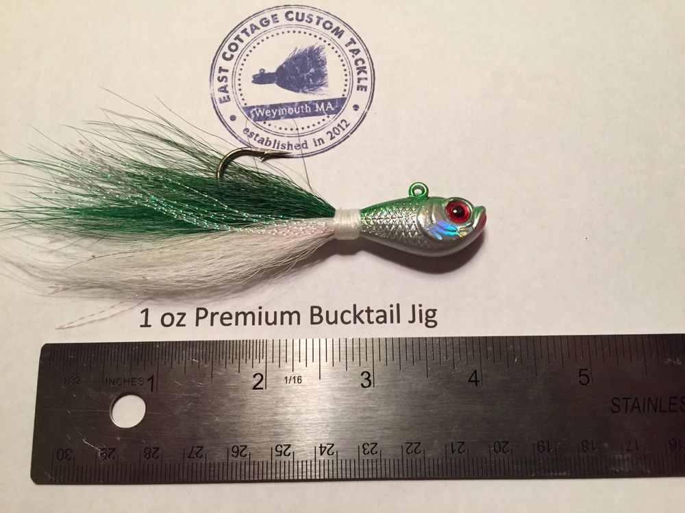 Green Red Eye 1 1//2 oz  Chartreuse Buck Tail Ultra Minnow Jigs with 5//0 Hook 4