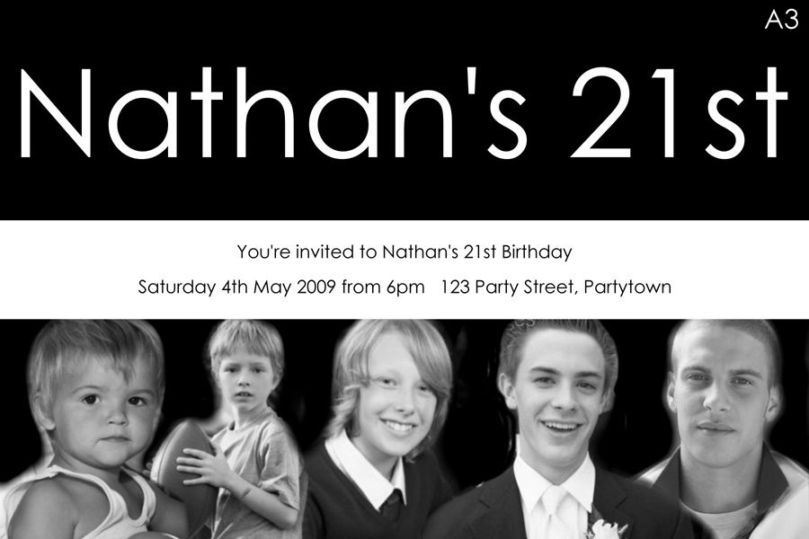 Now And Then 21st Birthday Invitations