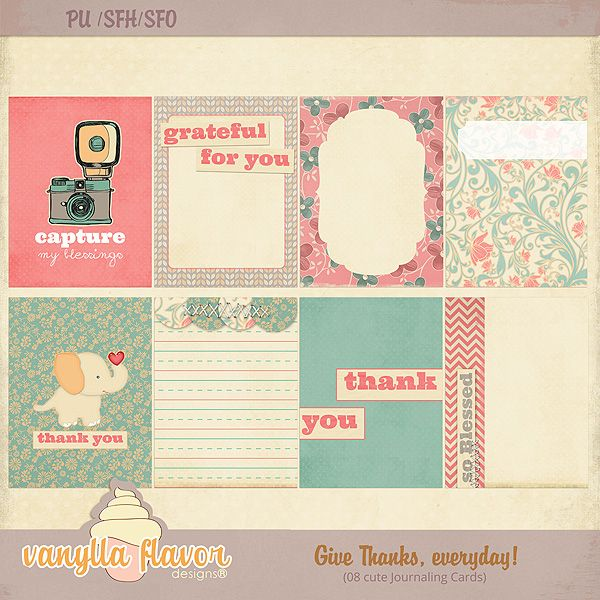 Give thanks, everyday! Journaling Cards