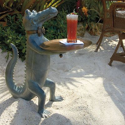 Belvedere Alligator Table Frontgate Outdoor Garden Whimsy