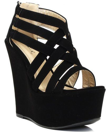 3e3ee3a4ccf Qupid Kunis-10 Strappy Open Toe Platform Wedge BLACK (FREE SHIPPING on all  add l items)  black  wedges