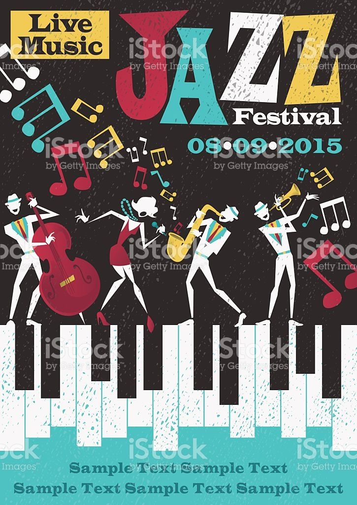 Retro Styled Jazz Festival Poster Featuring An Abstract Style