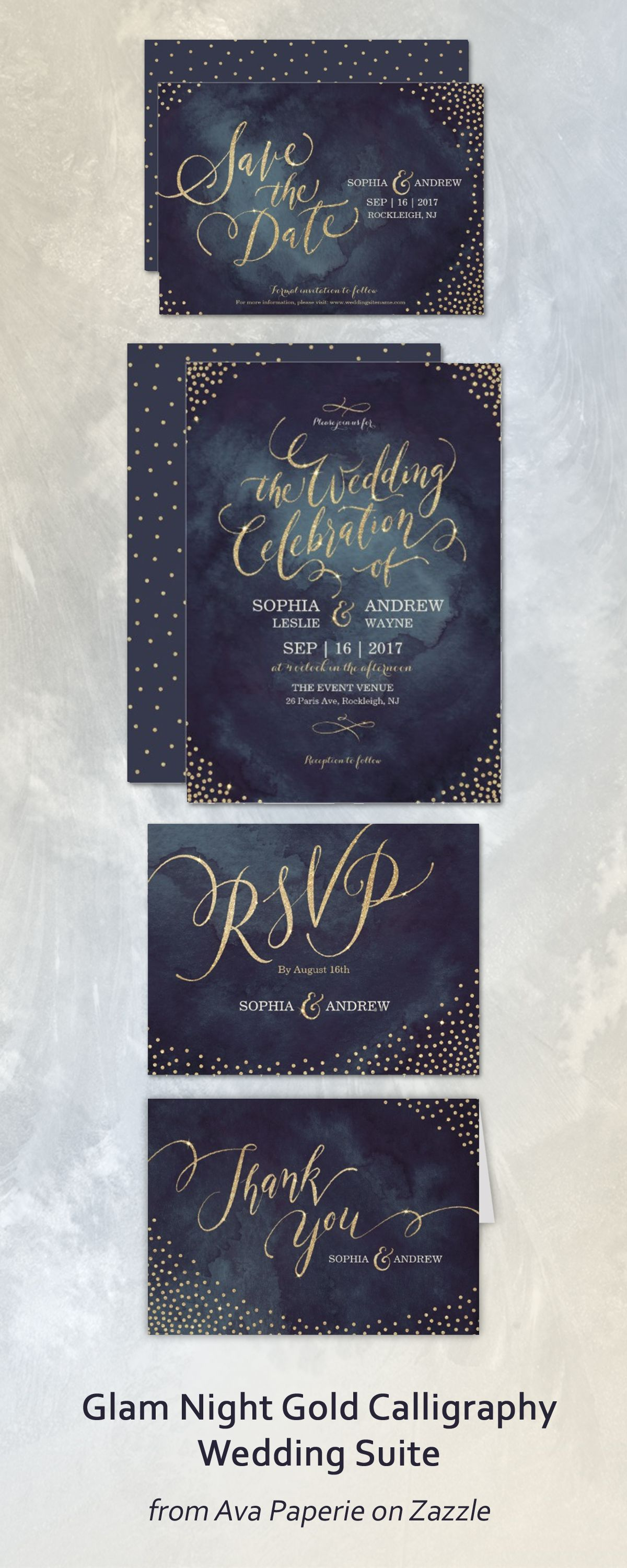 Chic navy nighttime wedding invitation suite featuring gold hand ...