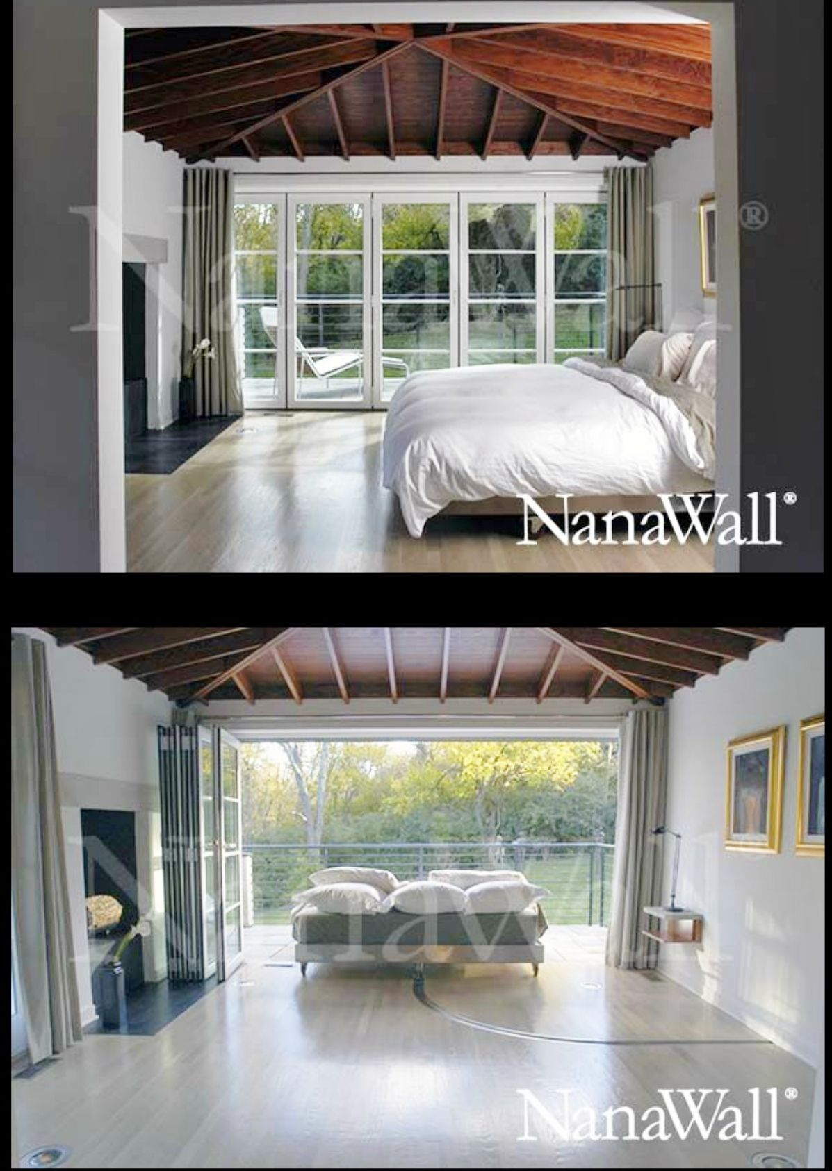 House design with sliding window  wow bed on a track  now thatus a cool bedroom nanawall sliding