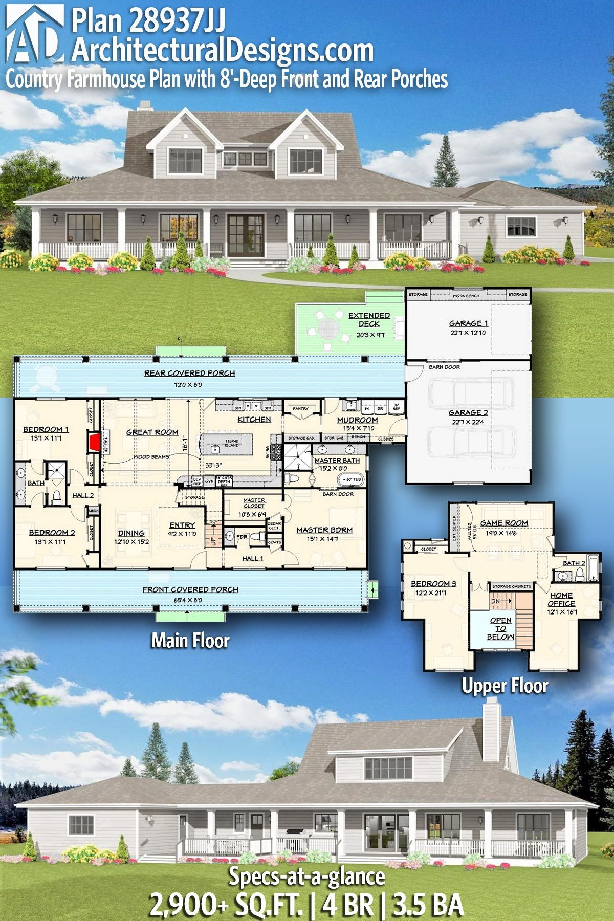 Plan JJ Country Farmhouse Plan with 8 Deep Front and Rear Porches