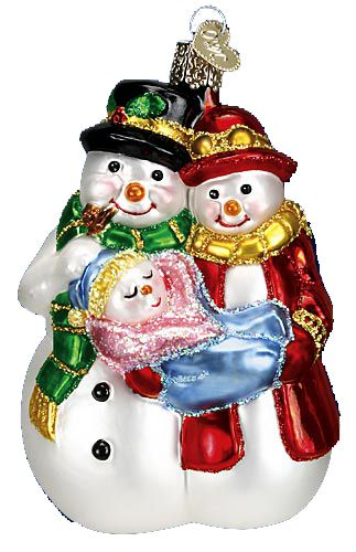 Snow Family Glass Ornament lovely ornaments Pinterest Ornament