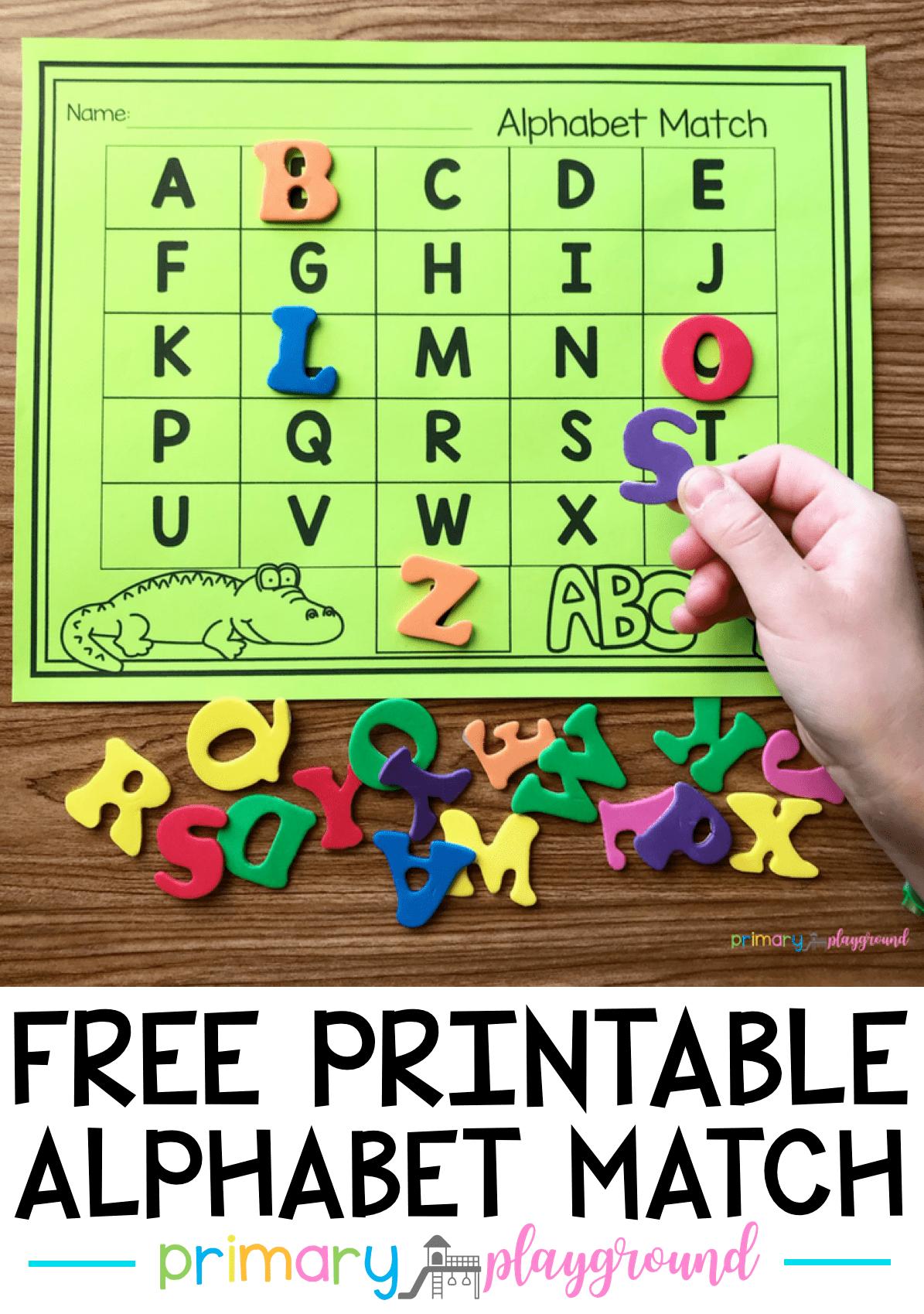 Free Printable Alphabet Match Primary Playground Preschool Letters Alphabet Kindergarten Alphabet Preschool [ 1699 x 1195 Pixel ]